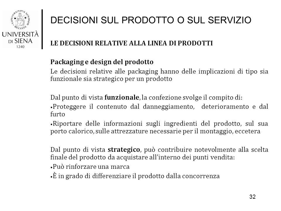 DECISIONI SUL PRODOTTO O SUL SERVIZIO LE DECISIONI RELATIVE ALLA LINEA DI PRODOTTI Packaging e design del prodotto Le decisioni relative alle packagin
