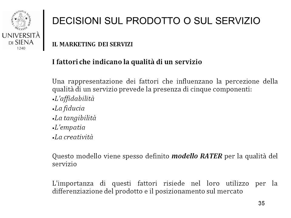 DECISIONI SUL PRODOTTO O SUL SERVIZIO IL MARKETING DEI SERVIZI I fattori che indicano la qualità di un servizio Una rappresentazione dei fattori che i