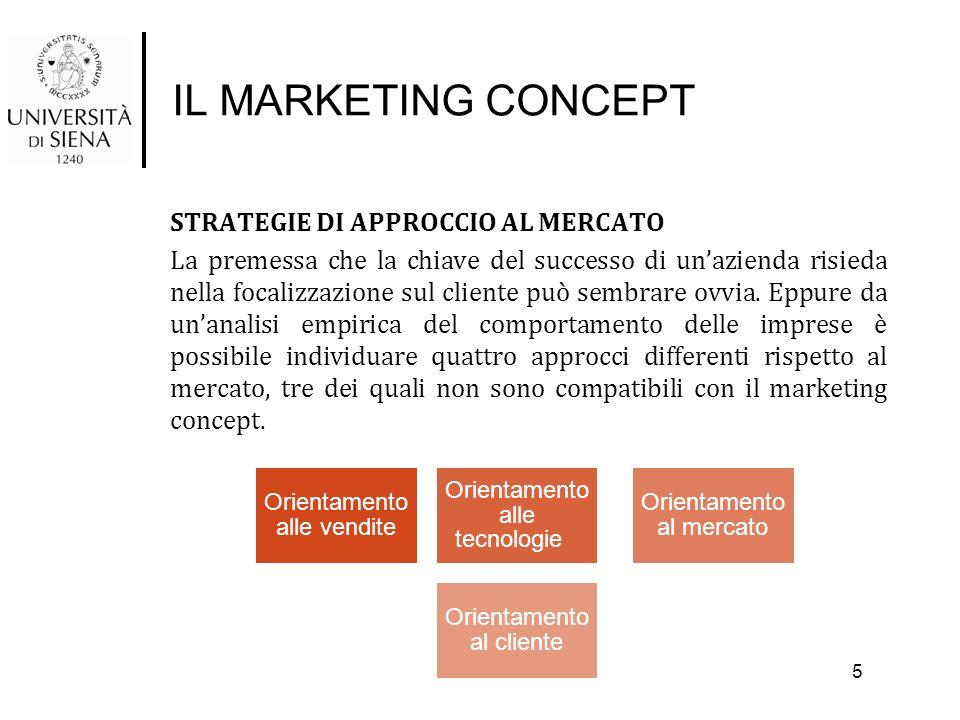 IL MARKETING CONCEPT STRATEGIE DI APPROCCIO AL MERCATO La premessa che la chiave del successo di un'azienda risieda nella focalizzazione sul cliente p