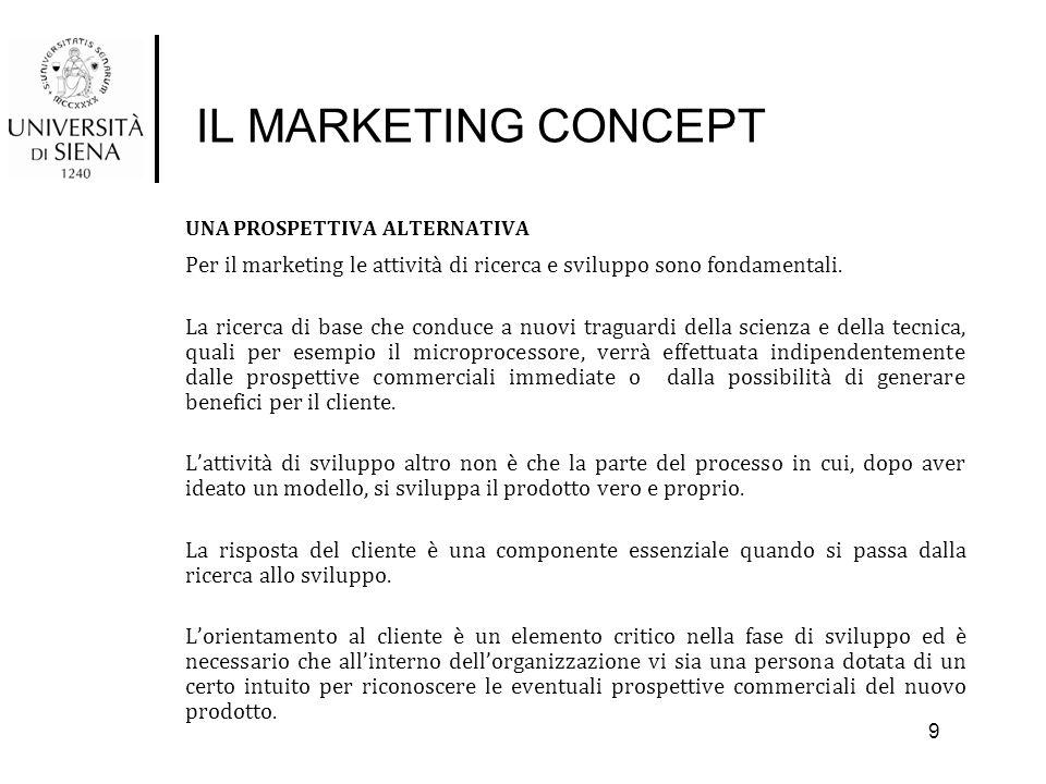 IL MARKETING CONCEPT UNA PROSPETTIVA ALTERNATIVA Per il marketing le attività di ricerca e sviluppo sono fondamentali. La ricerca di base che conduce