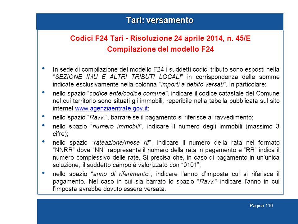 Pagina 110 Tari: versamento Codici F24 Tari - Risoluzione 24 aprile 2014, n.