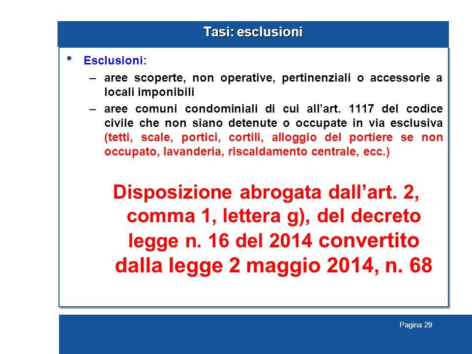 Pagina 29 Tasi: esclusioni Esclusioni: –aree scoperte, non operative, pertinenziali o accessorie a locali imponibili –aree comuni condominiali di cui all'art.