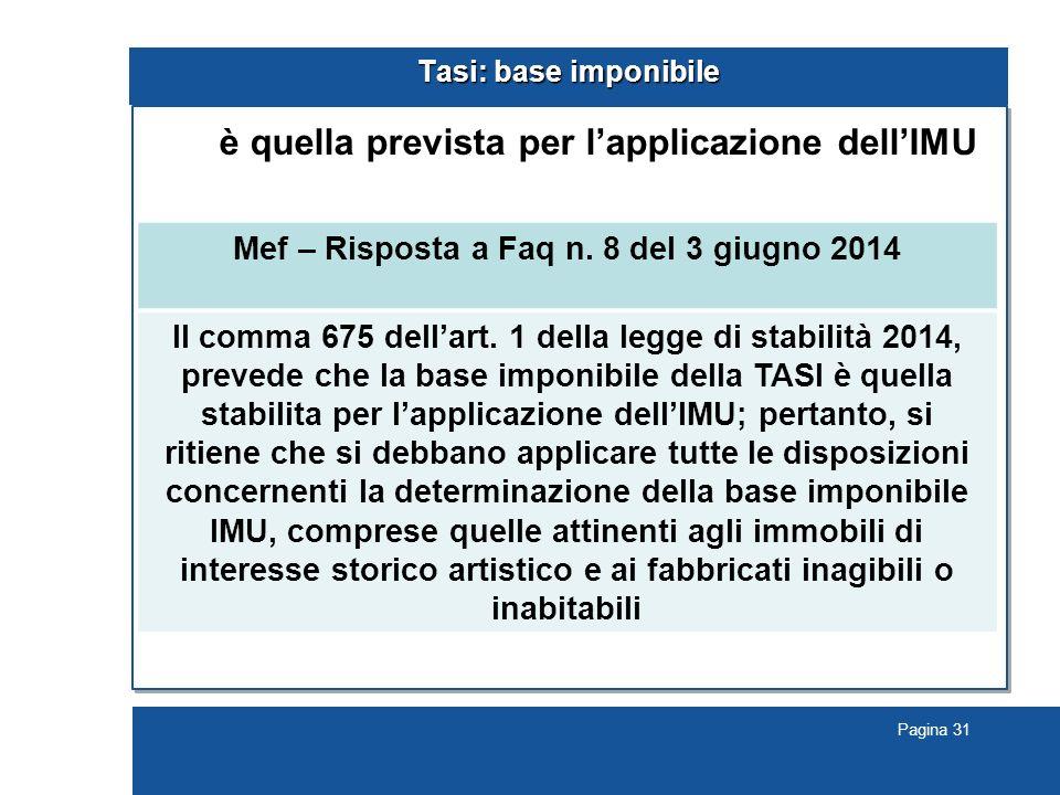 Pagina 31 Tasi: base imponibile è quella prevista per l'applicazione dell'IMU Mef – Risposta a Faq n.