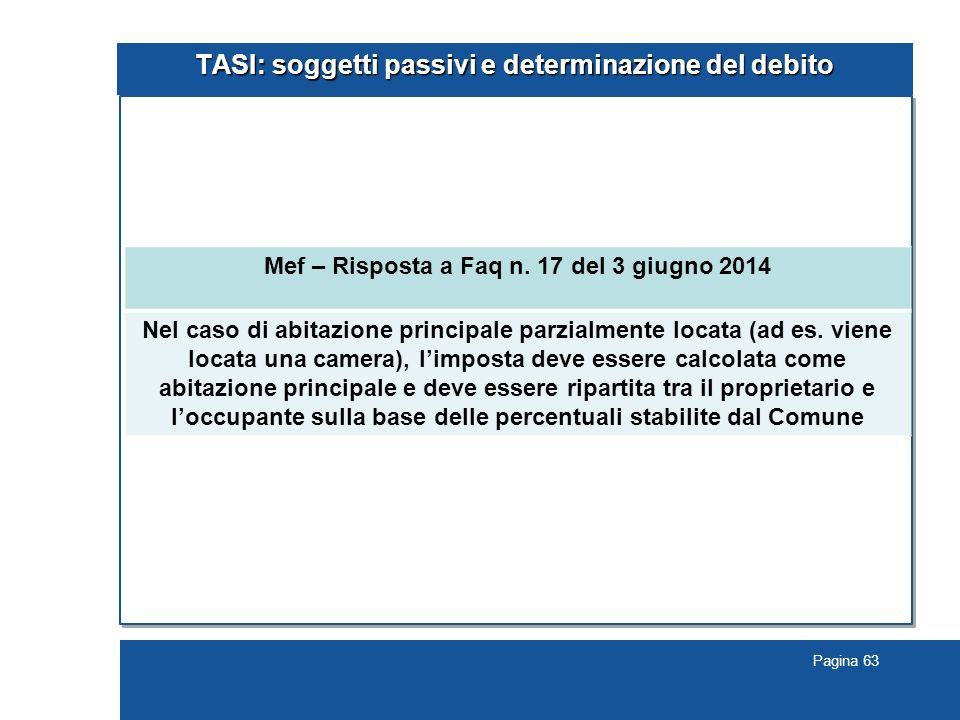 Pagina 63 TASI: soggetti passivi e determinazione del debito Mef – Risposta a Faq n.
