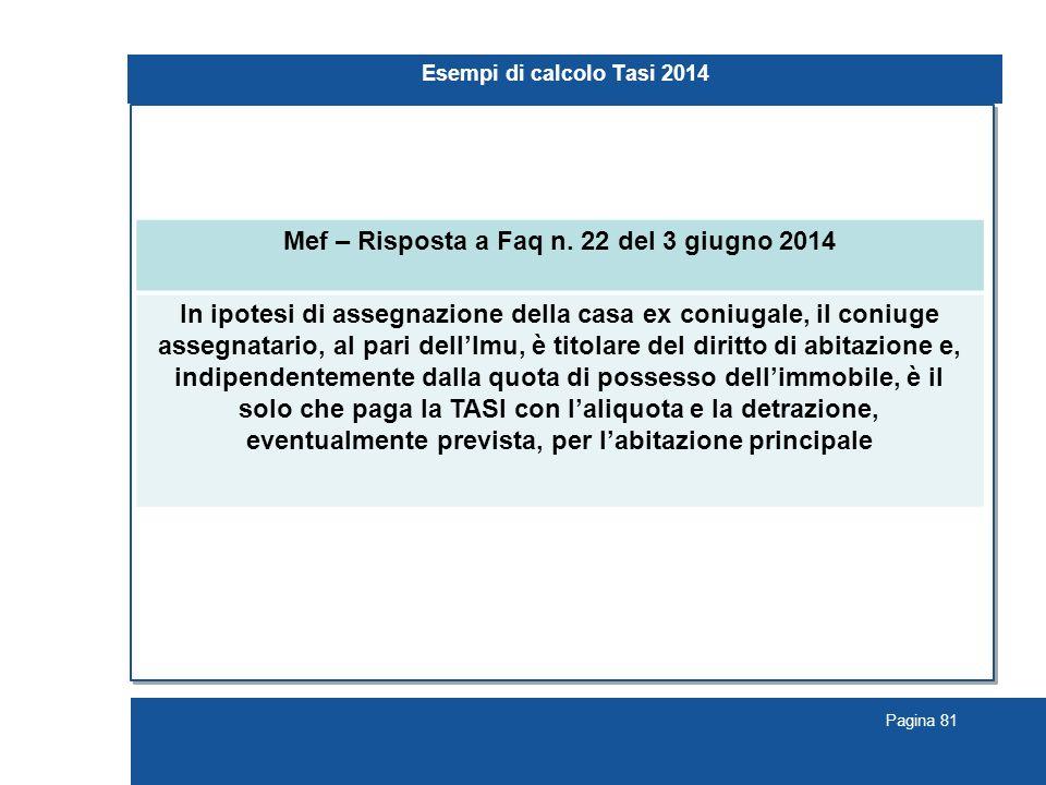 Pagina 81 Esempi di calcolo Tasi 2014 Mef – Risposta a Faq n.