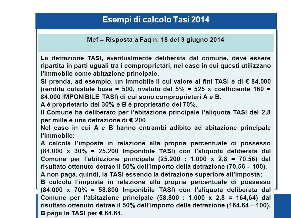Pagina 87 Esempi di calcolo Tasi 2014 Mef – Risposta a Faq n.