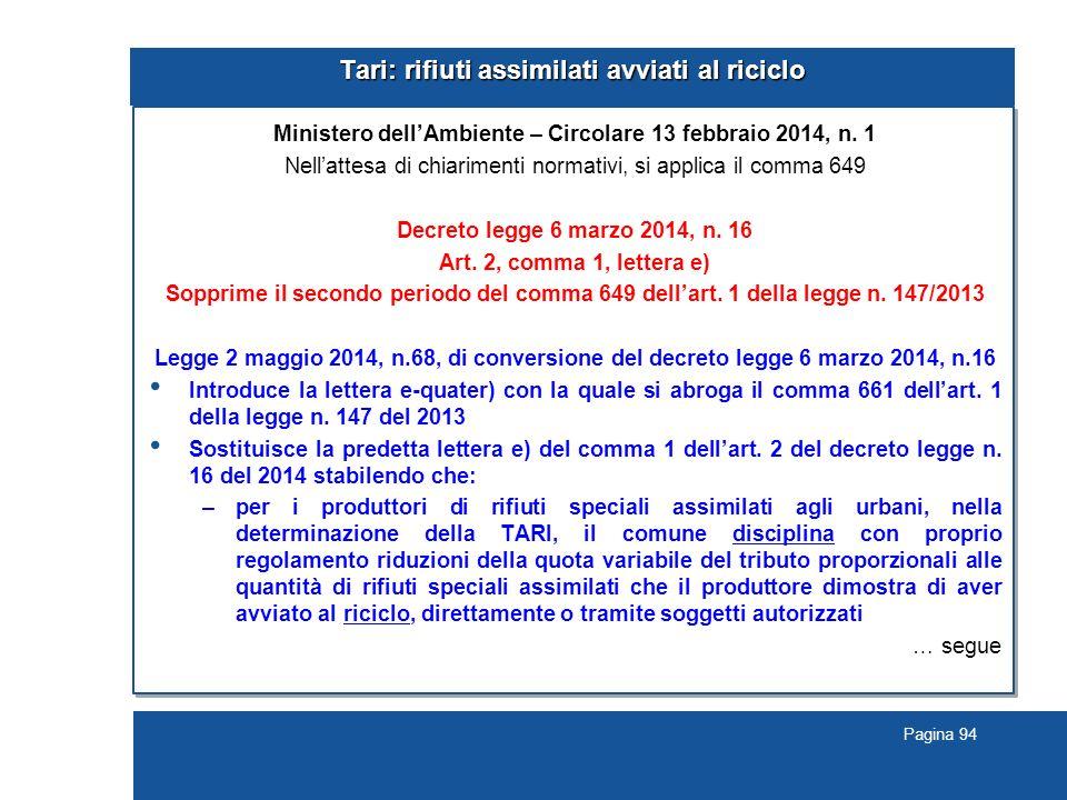 Pagina 94 Tari: rifiuti assimilati avviati al riciclo Ministero dell'Ambiente – Circolare 13 febbraio 2014, n.