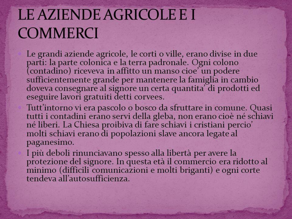 Le grandi aziende agricole, le corti o ville, erano divise in due parti: la parte colonica e la terra padronale. Ogni colono (contadino) riceveva in a