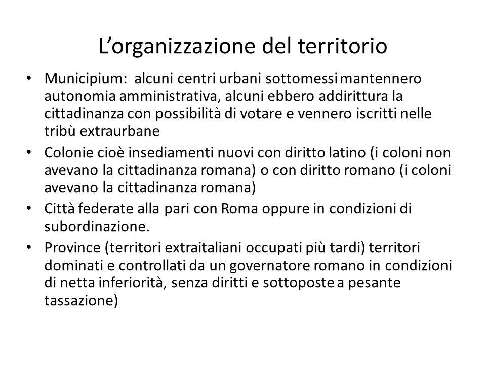 L'organizzazione del territorio Municipium: alcuni centri urbani sottomessi mantennero autonomia amministrativa, alcuni ebbero addirittura la cittadin
