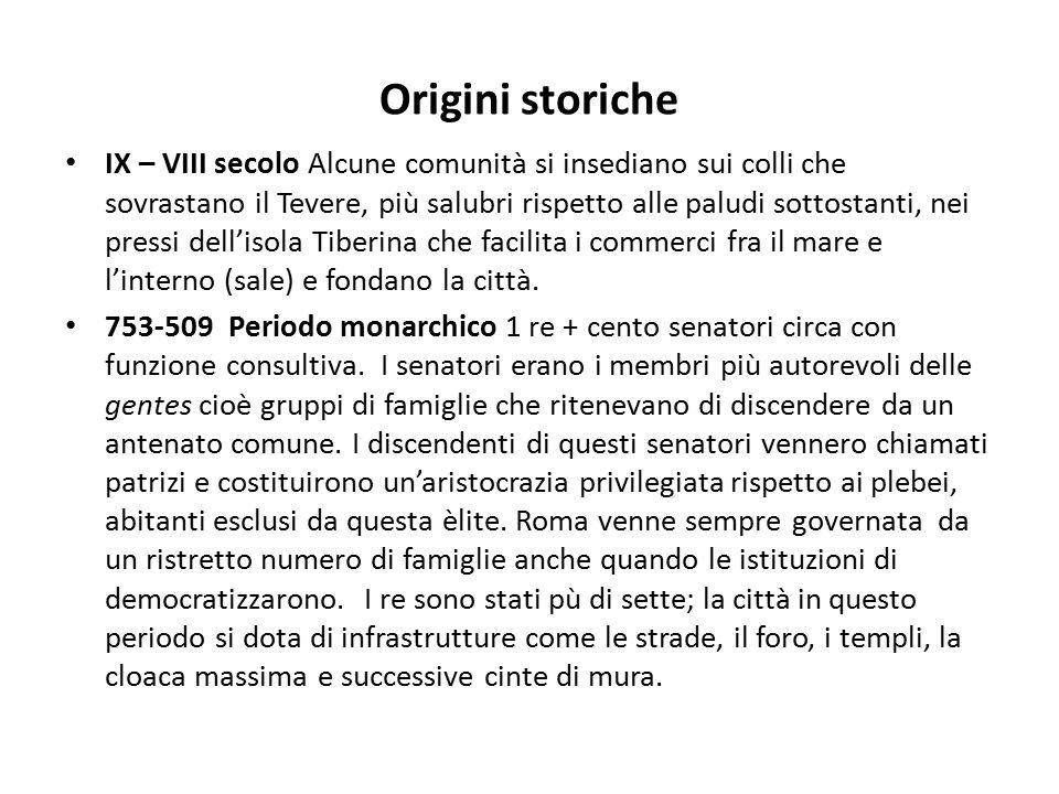 Struttura sociale e politica Si ricordi l'importanza della clientela, che vanificò, di fatto, la democrazia a Roma o comunque la rese assai manipolabile da parte delle famiglie più abbienti.