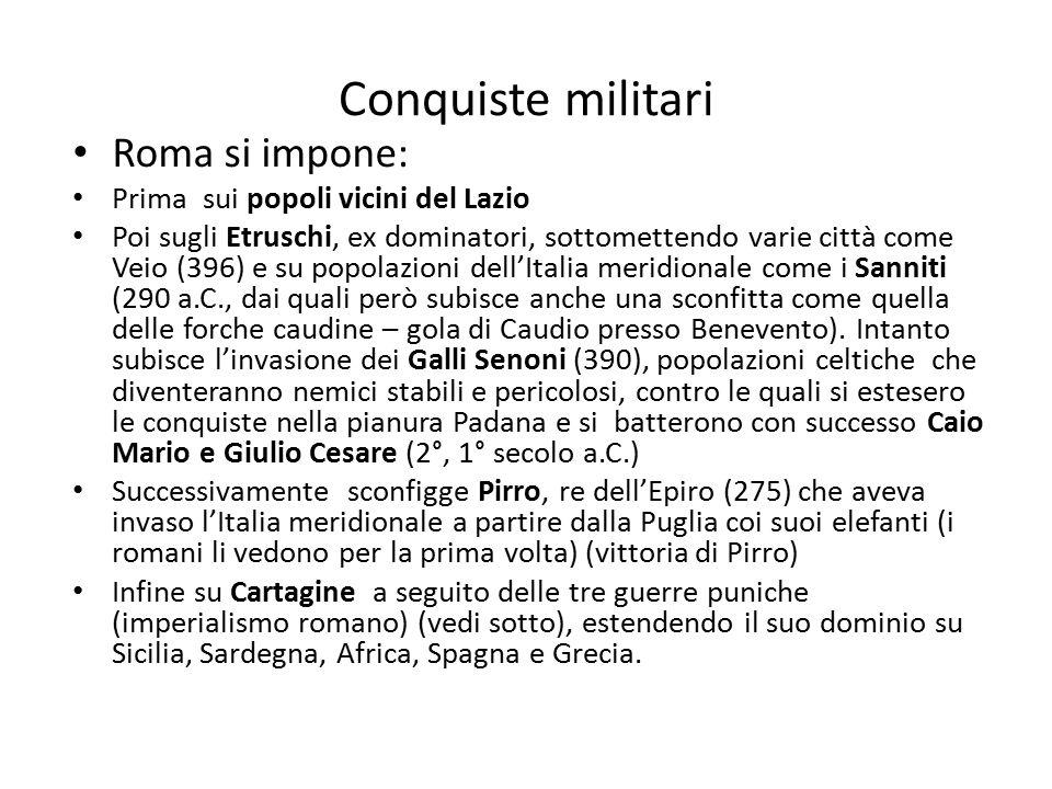 Conquiste militari Roma si impone: Prima sui popoli vicini del Lazio Poi sugli Etruschi, ex dominatori, sottomettendo varie città come Veio (396) e su