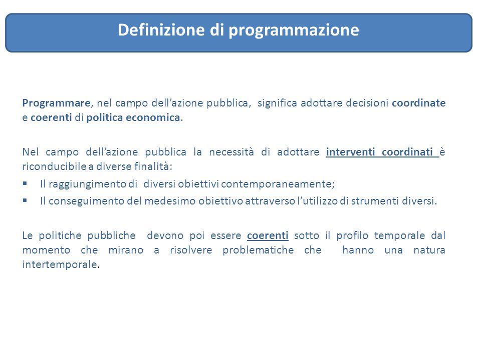 Programmare, nel campo dell'azione pubblica, significa adottare decisioni coordinate e coerenti di politica economica. Nel campo dell'azione pubblica