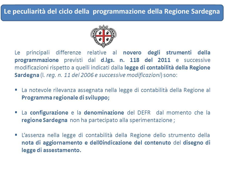 IL CICLO DI PROGRAMMAZIONE…..DAL DEFR AL RENDICONTO Le peculiarità del ciclo della programmazione della Regione Sardegna Le principali differenze rela