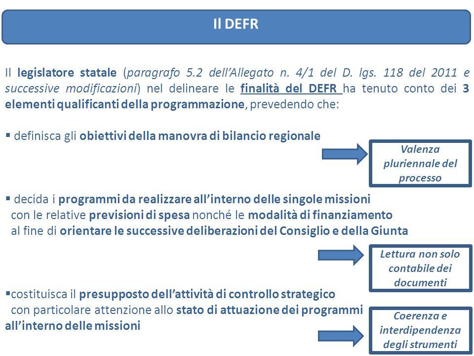 Il DEFR Il legislatore statale (paragrafo 5.2 dell'Allegato n. 4/1 del D. lgs. 118 del 2011 e successive modificazioni) nel delineare le finalità del