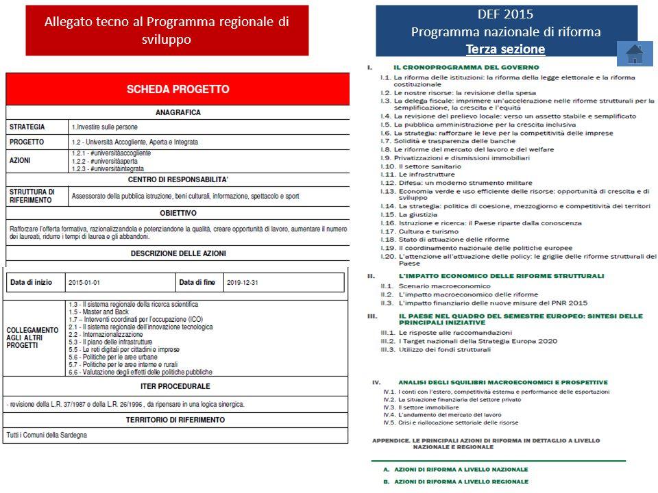 Allegato tecno al Programma regionale di sviluppo DEF 2015 Programma nazionale di riforma Terza sezione