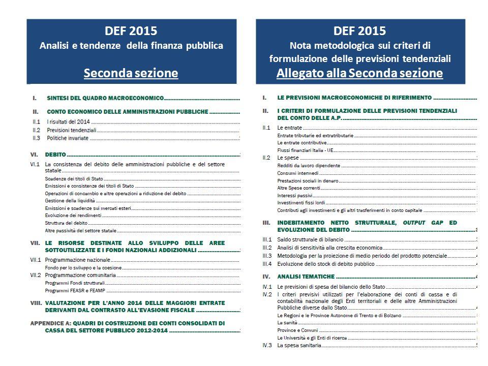 DEF 2015 Analisi e tendenze della finanza pubblica Seconda sezione DEF 2015 Nota metodologica sui criteri di formulazione delle previsioni tendenziali