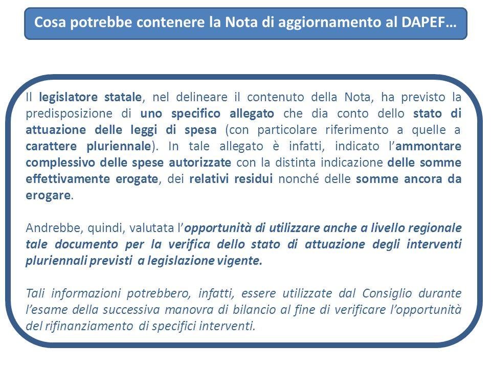Cosa potrebbe contenere la Nota di aggiornamento al DAPEF… Il legislatore statale, nel delineare il contenuto della Nota, ha previsto la predisposizio