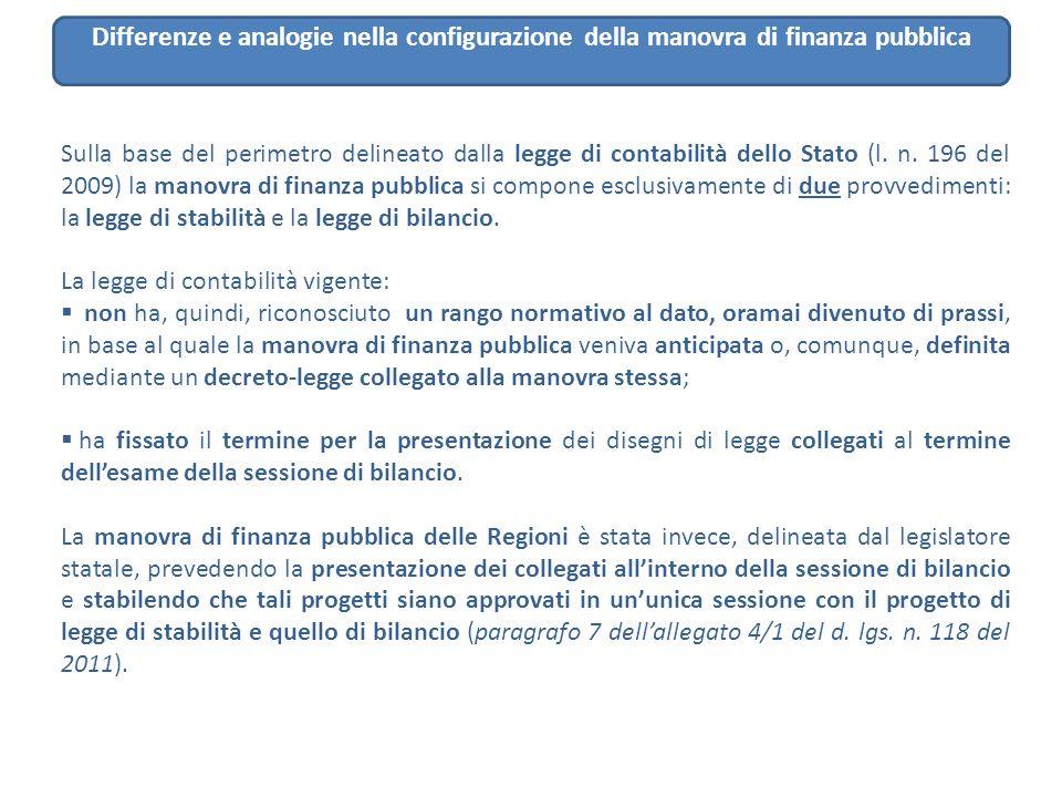 Sulla base del perimetro delineato dalla legge di contabilità dello Stato (l. n. 196 del 2009) la manovra di finanza pubblica si compone esclusivament