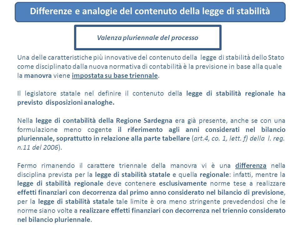Una delle caratteristiche più innovative del contenuto della legge di stabilità dello Stato come disciplinato dalla nuova normativa di contabilità è l
