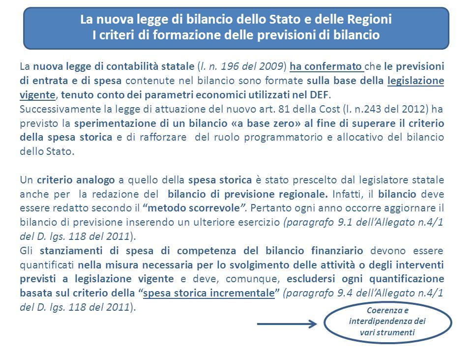 La nuova legge di bilancio dello Stato e delle Regioni I criteri di formazione delle previsioni di bilancio La nuova legge di contabilità statale (l.