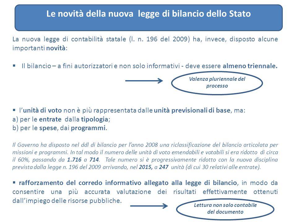 Le novità della nuova legge di bilancio dello Stato La nuova legge di contabilità statale (l. n. 196 del 2009) ha, invece, disposto alcune importanti
