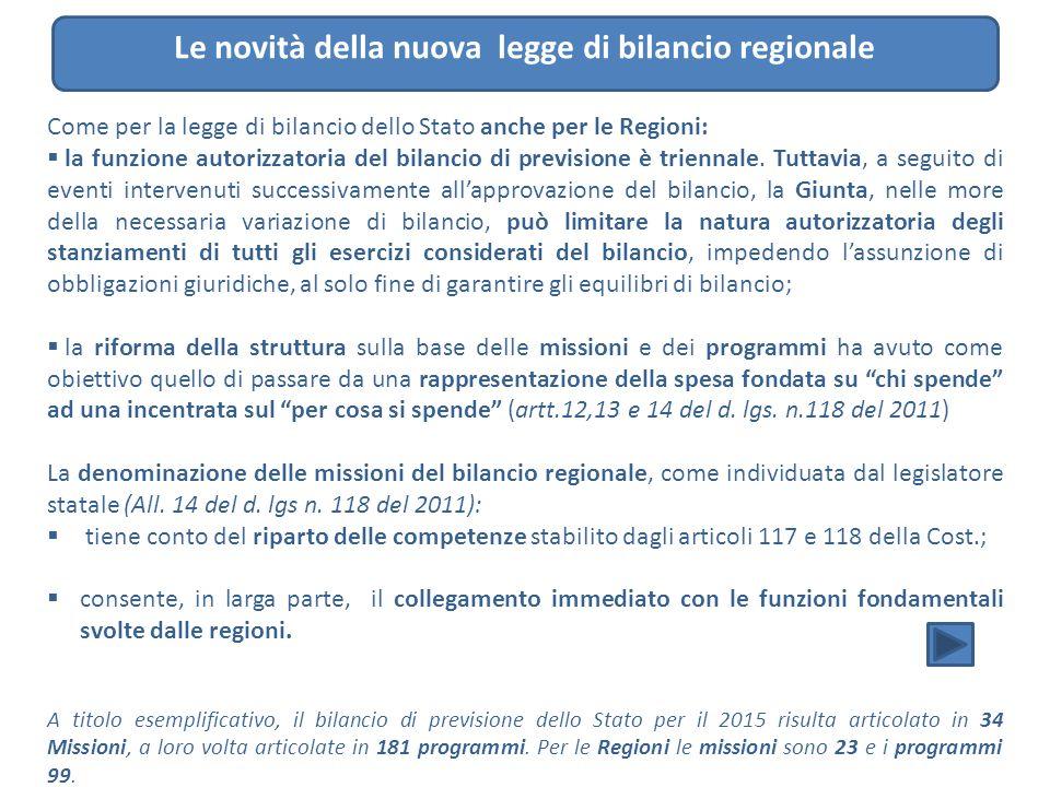 Le novità della nuova legge di bilancio regionale Come per la legge di bilancio dello Stato anche per le Regioni:  la funzione autorizzatoria del bil