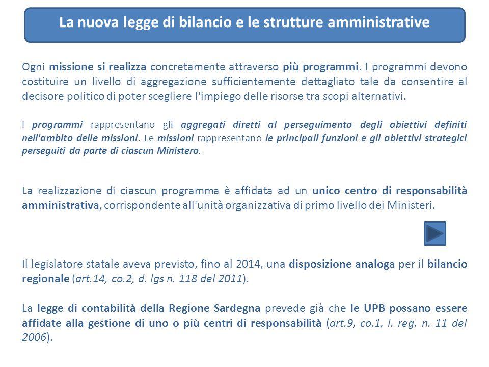 La nuova legge di bilancio e le strutture amministrative Ogni missione si realizza concretamente attraverso più programmi. I programmi devono costitui