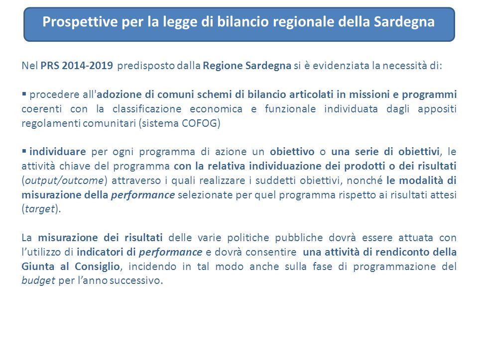 Prospettive per la legge di bilancio regionale della Sardegna Nel PRS 2014-2019 predisposto dalla Regione Sardegna si è evidenziata la necessità di: 