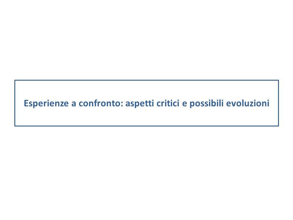 Esperienze a confronto: aspetti critici e possibili evoluzioni