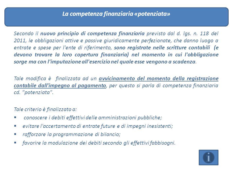 Secondo il nuovo principio di competenza finanziaria previsto dal d. lgs. n. 118 del 2011, le obbligazioni attive e passive giuridicamente perfezionat