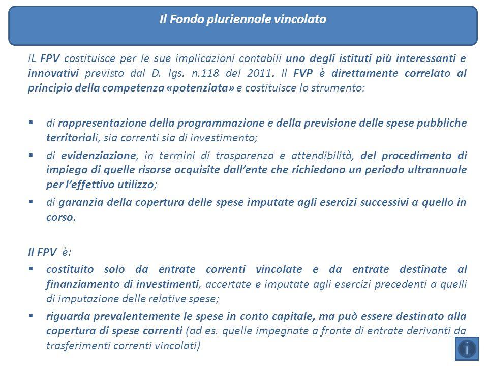 IL FPV costituisce per le sue implicazioni contabili uno degli istituti più interessanti e innovativi previsto dal D. lgs. n.118 del 2011. Il FVP è di