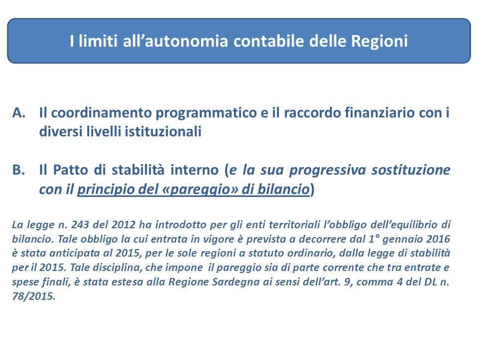 A.Il coordinamento programmatico e il raccordo finanziario con i diversi livelli istituzionali B.Il Patto di stabilità interno (e la sua progressiva s