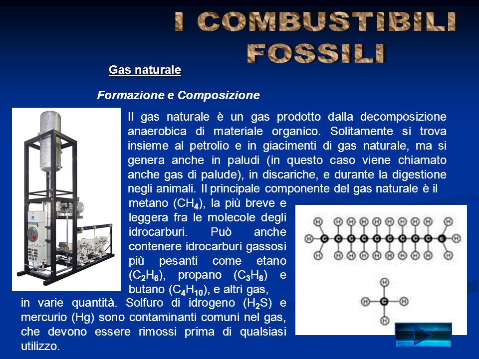 Formazione e Composizione Gas naturale Il gas naturale è un gas prodotto dalla decomposizione anaerobica di materiale organico. Solitamente si trova i