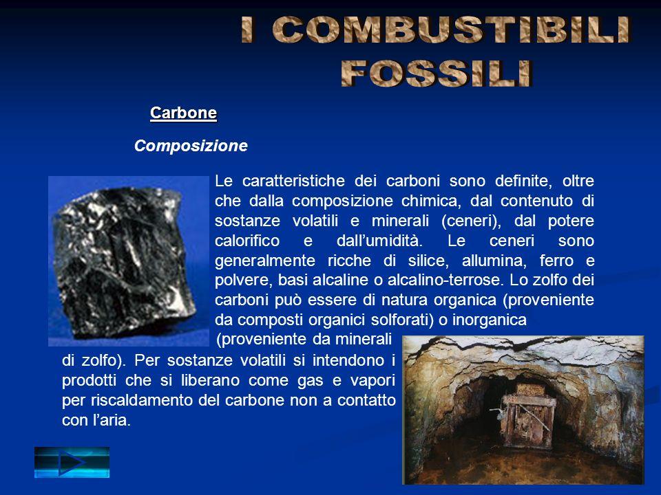 Composizione Carbone Le caratteristiche dei carboni sono definite, oltre che dalla composizione chimica, dal contenuto di sostanze volatili e minerali