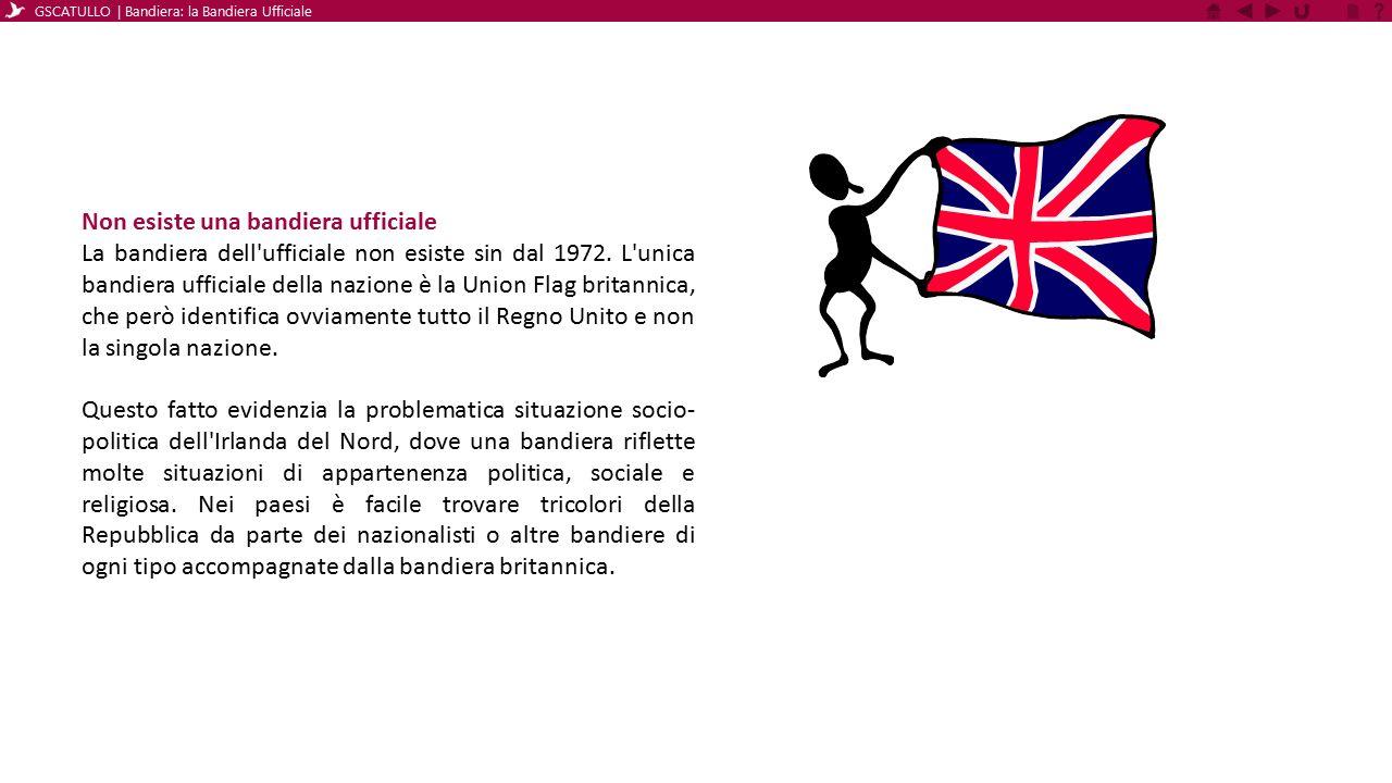 Non esiste una bandiera ufficiale La bandiera dell'ufficiale non esiste sin dal 1972. L'unica bandiera ufficiale della nazione è la Union Flag britann