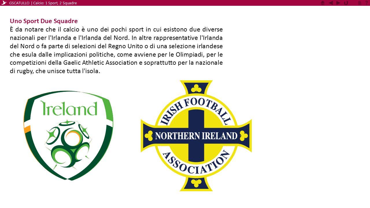 Uno Sport Due Squadre È da notare che il calcio è uno dei pochi sport in cui esistono due diverse nazionali per l'Irlanda e l'Irlanda del Nord. In alt