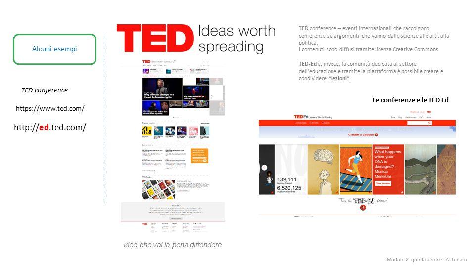 Modulo 2: quinta lezione - A. Todaro Alcuni esempi TED conference Le conferenze e le TED Ed TED conference – eventi internazionali che raccolgono conf