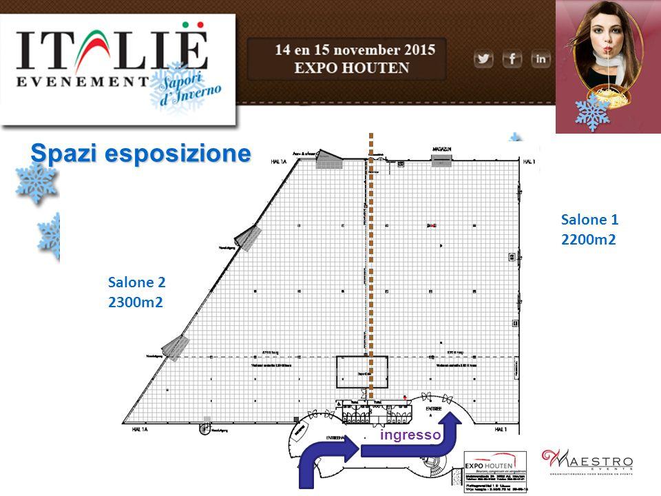 ingresso Salone 1 2200m2 Salone 2 2300m2 Spazi esposizione