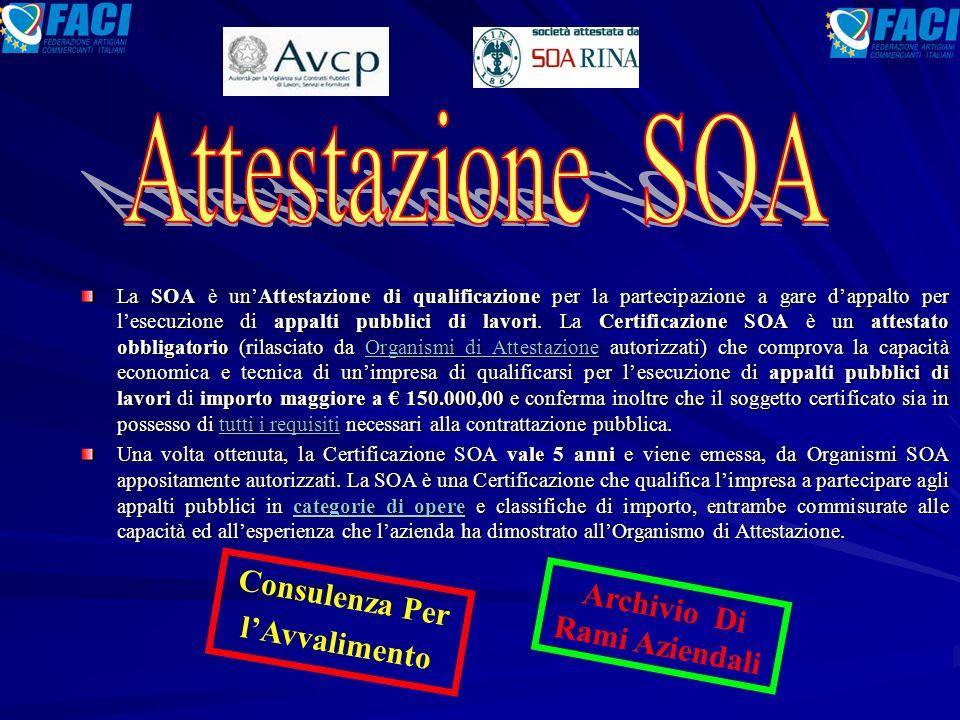 La SOA è un'Attestazione di qualificazione per la partecipazione a gare d'appalto per l'esecuzione di appalti pubblici di lavori.