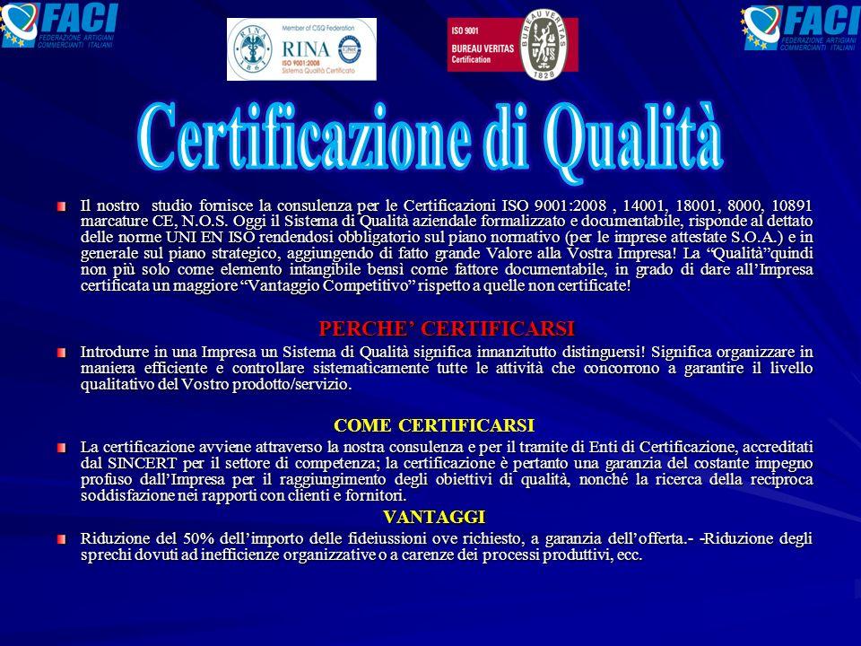 Il nostro studio fornisce la consulenza per le Certificazioni ISO 9001:2008, 14001, 18001, 8000, 10891 marcature CE, N.O.S.