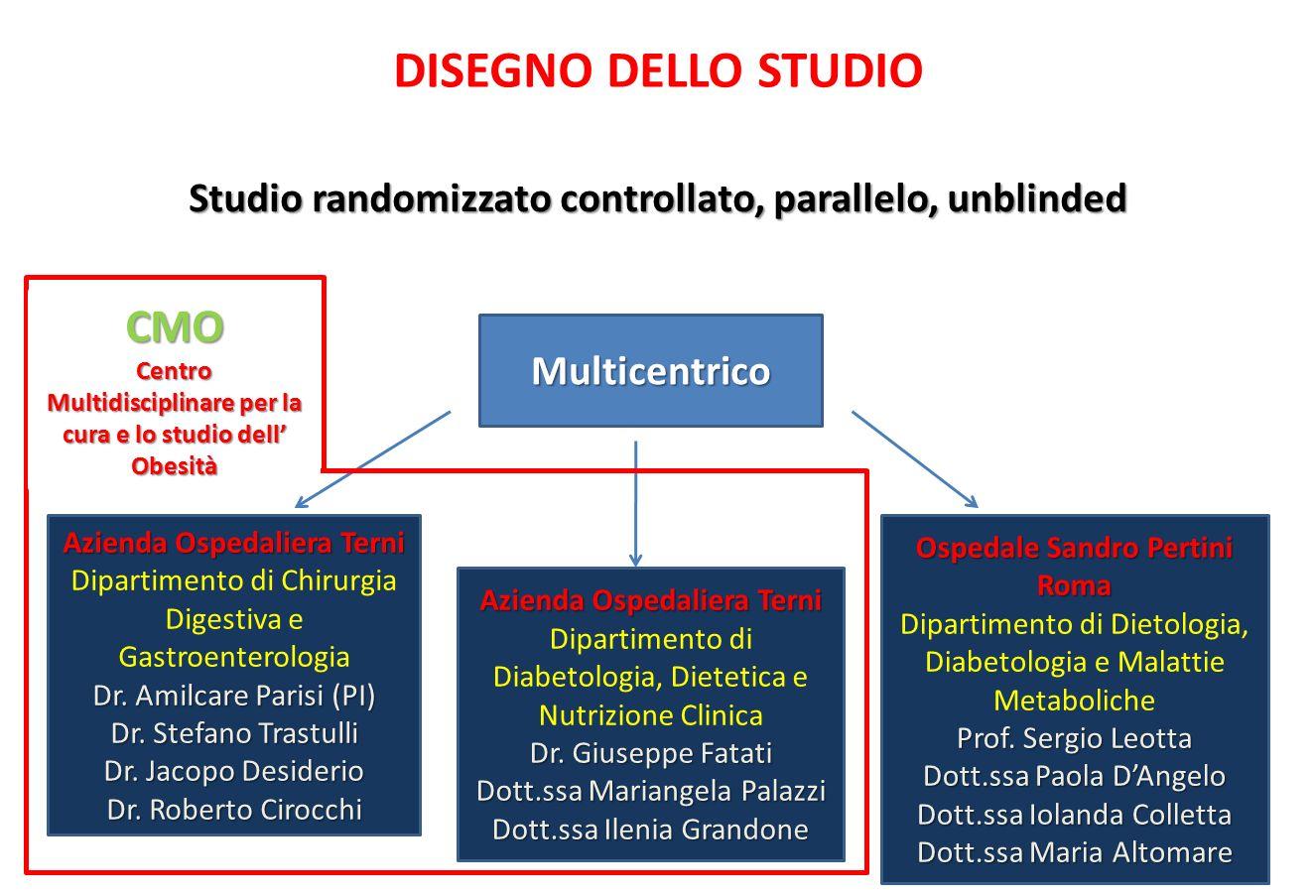 DISEGNO DELLO STUDIO Studio randomizzato controllato, parallelo, unblinded Multicentrico Azienda Ospedaliera Terni Dipartimento di Chirurgia Digestiva e Gastroenterologia Dr.