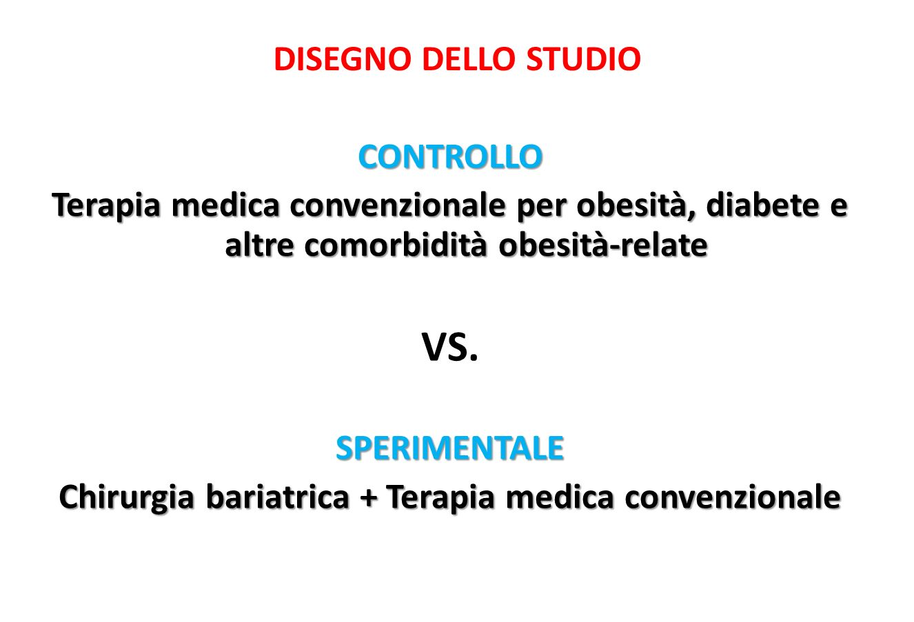 CONTROLLO Terapia medica convenzionale per obesità, diabete e altre comorbidità obesità-relate VS.SPERIMENTALE Chirurgia bariatrica + Terapia medica c