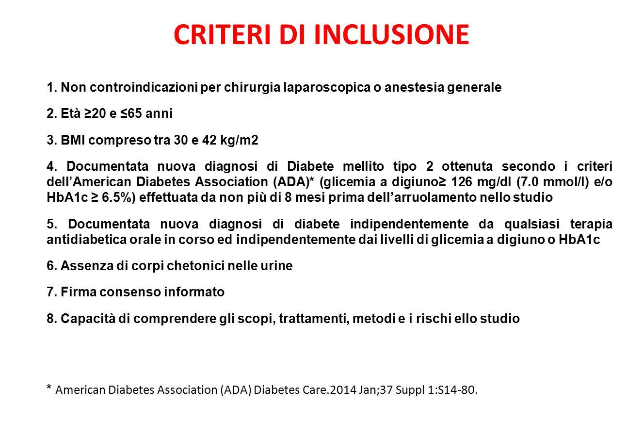CRITERI DI INCLUSIONE 1.Non controindicazioni per chirurgia laparoscopica o anestesia generale 2.