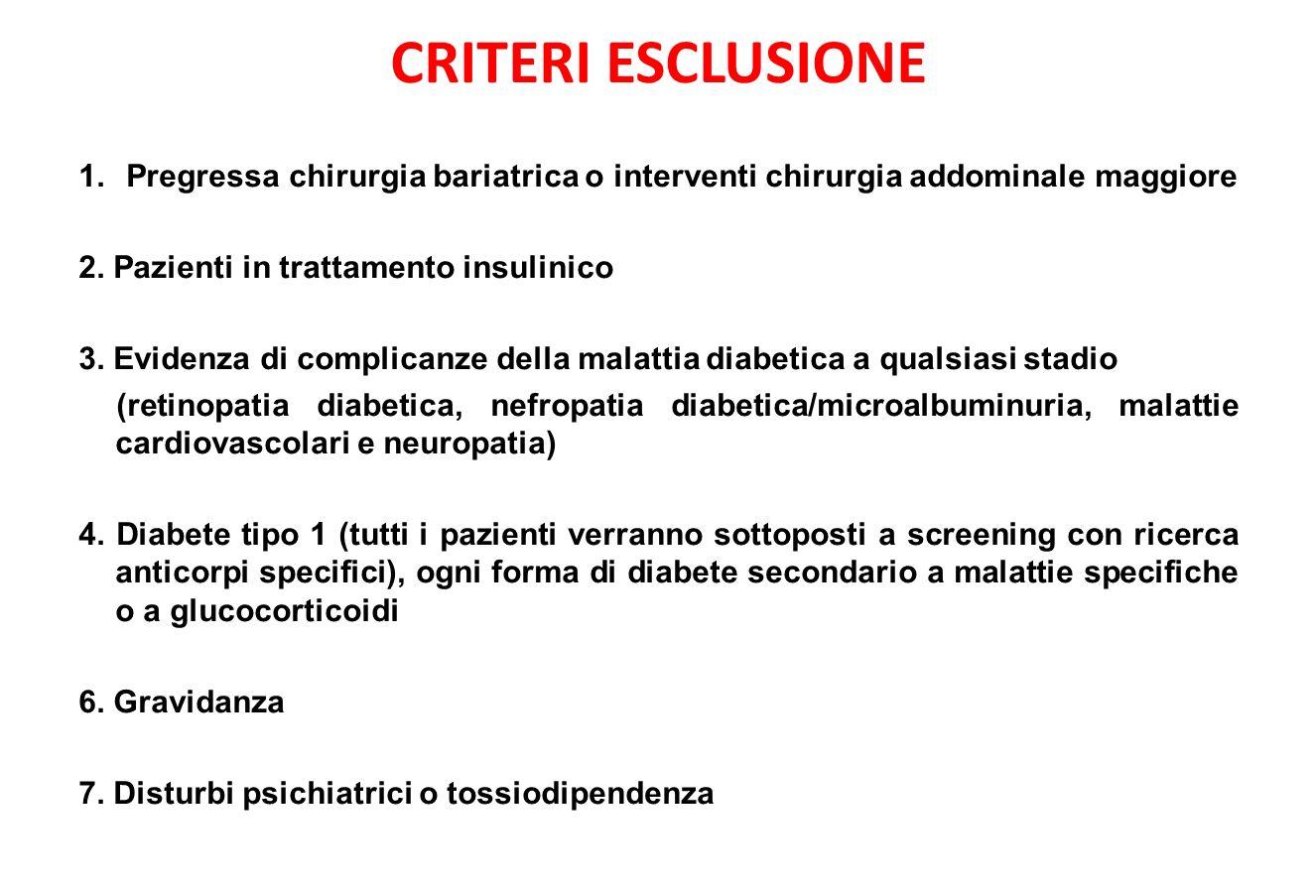 CRITERI ESCLUSIONE 1.Pregressa chirurgia bariatrica o interventi chirurgia addominale maggiore 2.