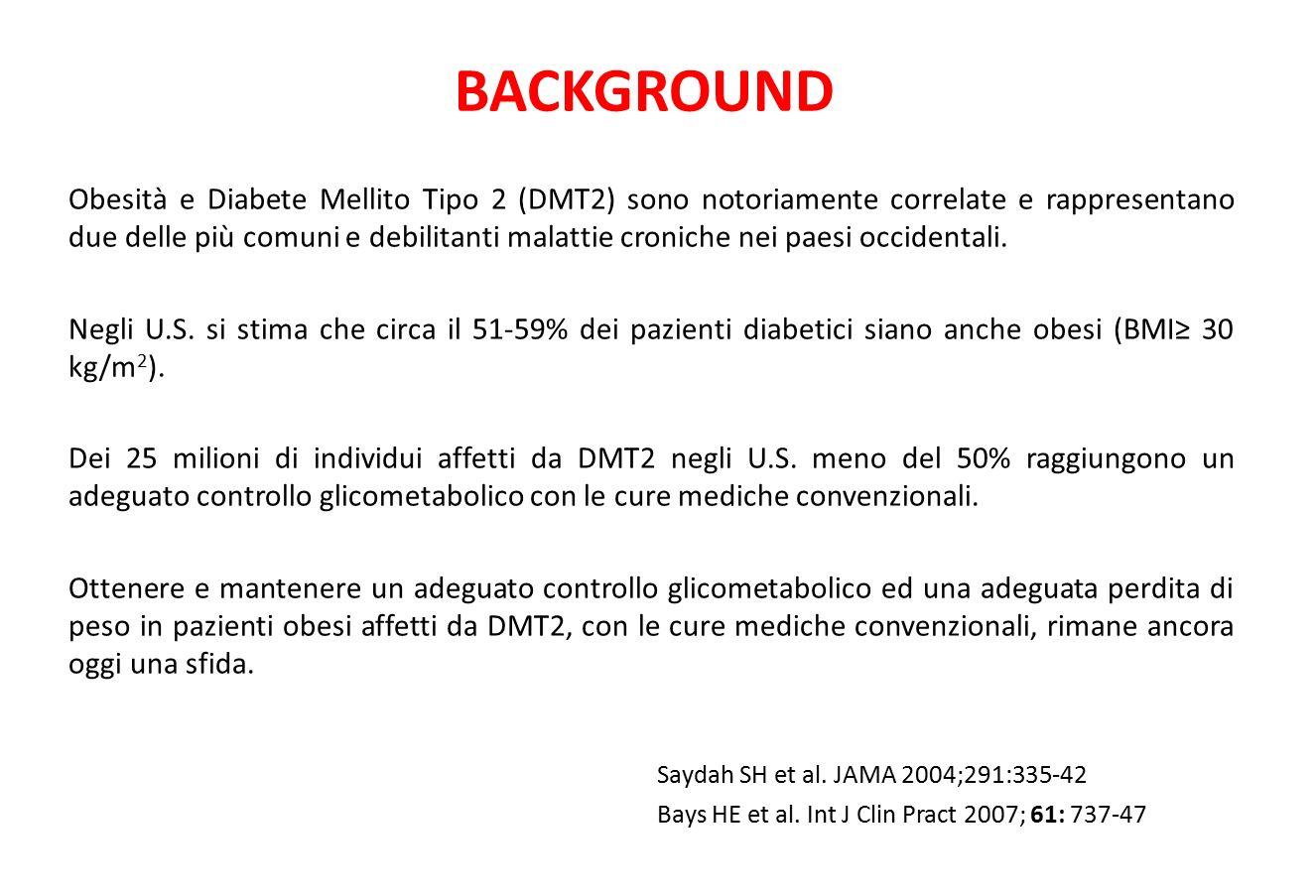 BACKGROUND Obesità e Diabete Mellito Tipo 2 (DMT2) sono notoriamente correlate e rappresentano due delle più comuni e debilitanti malattie croniche ne