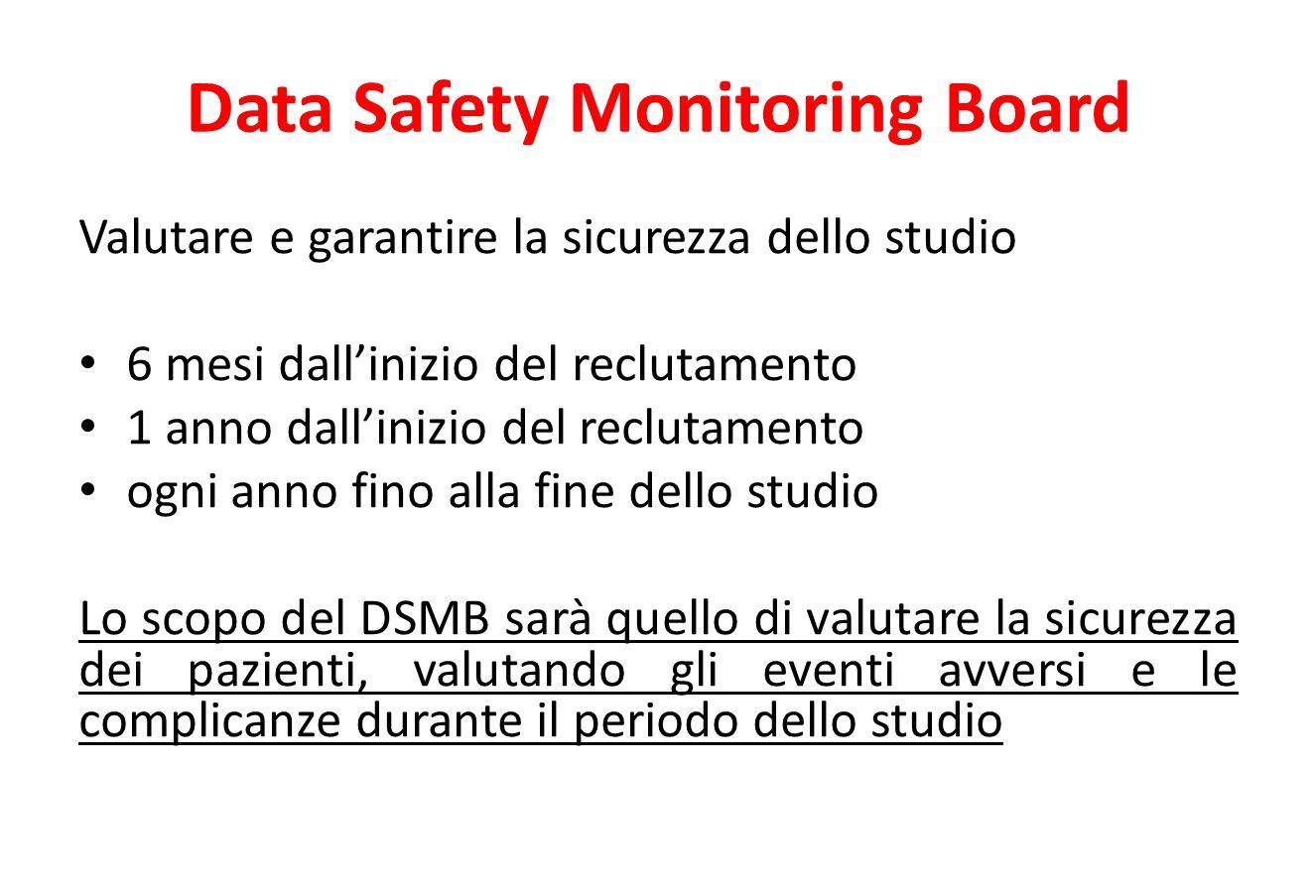Data Safety Monitoring Board Valutare e garantire la sicurezza dello studio 6 mesi dall'inizio del reclutamento 1 anno dall'inizio del reclutamento ogni anno fino alla fine dello studio Lo scopo del DSMB sarà quello di valutare la sicurezza dei pazienti, valutando gli eventi avversi e le complicanze durante il periodo dello studio