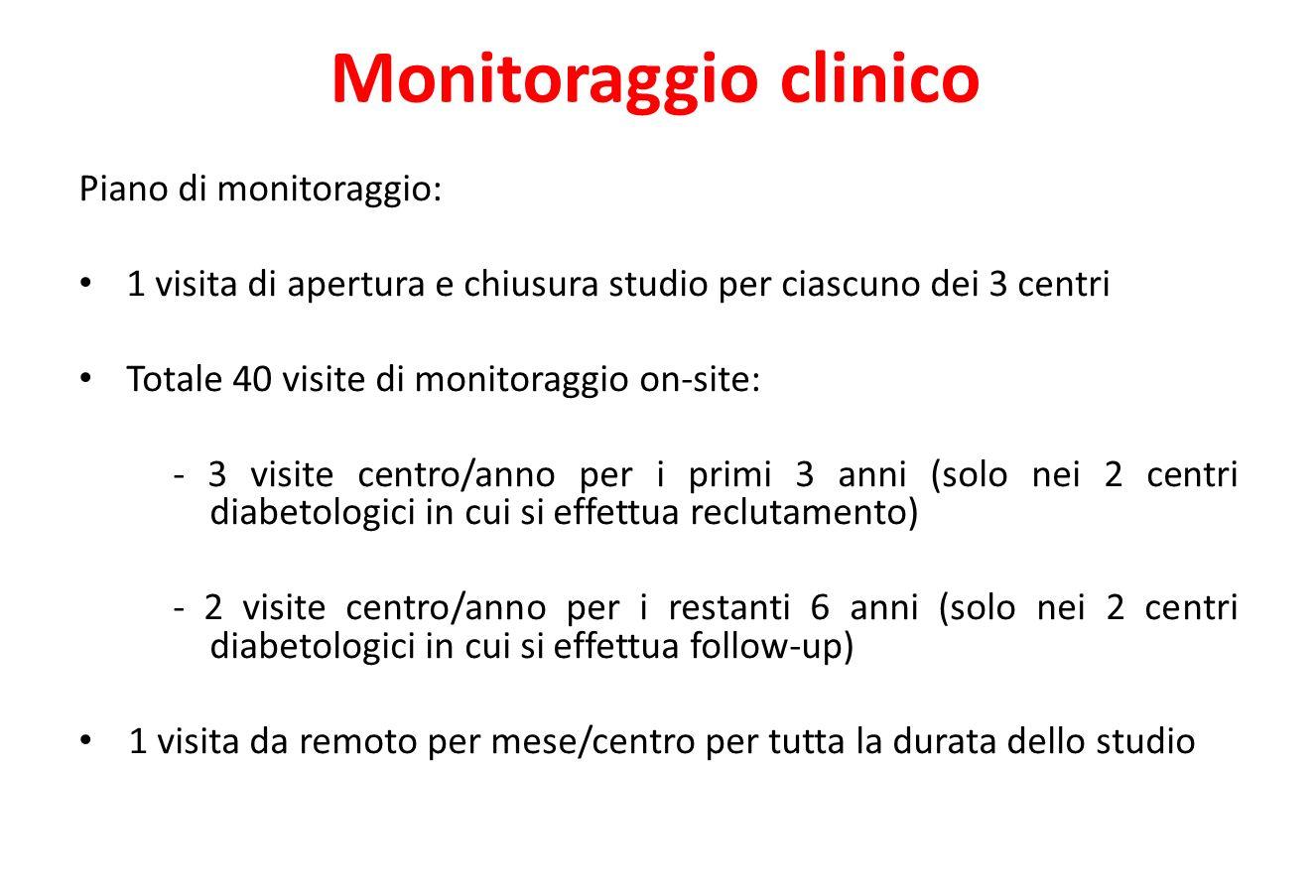 Monitoraggio clinico Piano di monitoraggio: 1 visita di apertura e chiusura studio per ciascuno dei 3 centri Totale 40 visite di monitoraggio on-site: