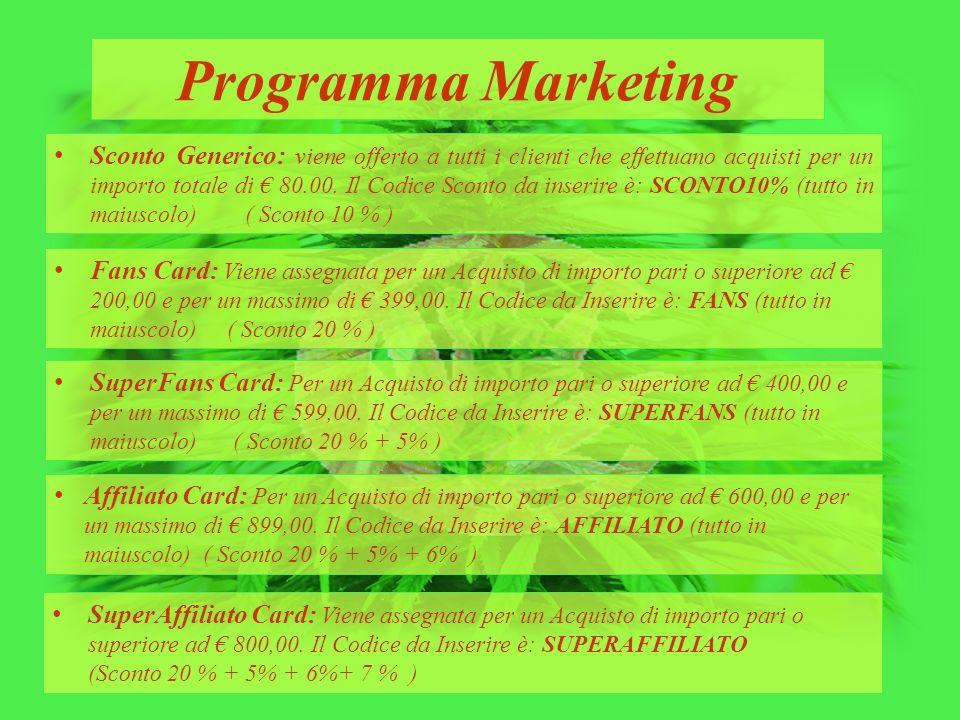 Programma Marketing Affiliato Card: Per un Acquisto di importo pari o superiore ad € 600,00 e per un massimo di € 899,00. Il Codice da Inserire è: AFF