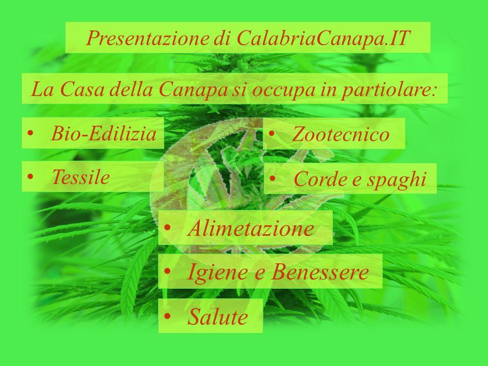 Presentazione di CalabriaCanapa.IT La Casa della Canapa si occupa in partiolare: Bio-Edilizia Zootecnico Tessile Corde e spaghi Alimetazione Igiene e