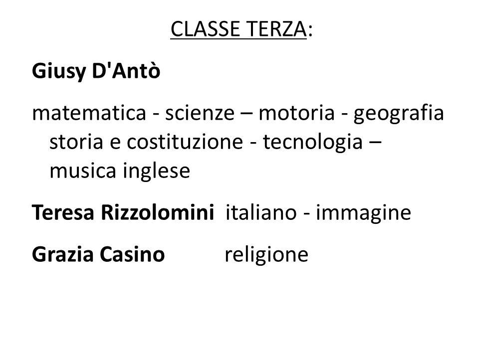 CLASSE TERZA: Giusy D'Antò matematica - scienze – motoria - geografia storia e costituzione - tecnologia – musica inglese Teresa Rizzolomini italiano